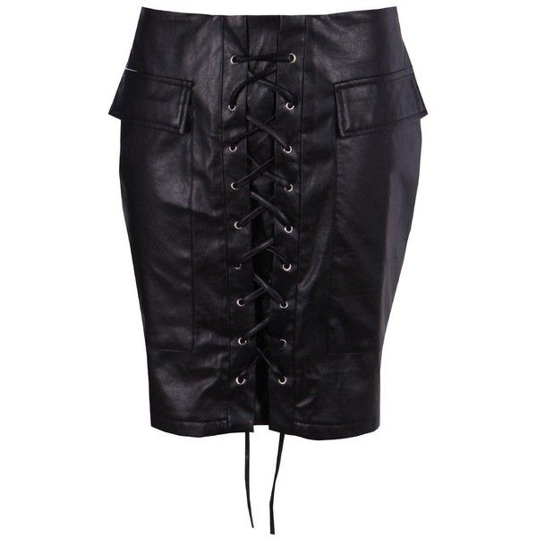 Boohoo Aria Leather Look Lace Up Pocket Front Mini Skirt | Boohoo ($21) ❤ liked on Polyvore featuring skirts, mini skirts, pleated mini skirt, short maxi skirt, pleated midi skirt, faux leather skirt and maxi circle skirt