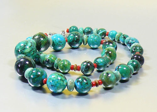"Striking Turquoise Chrysocolla Coral Artisan Designer Bead Necklace 23"" Long"