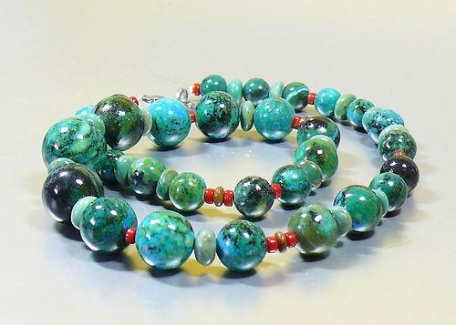 "Striking Turquoise Chrysocolla Coral Artisan Designer Bead Necklace 23"" Long"