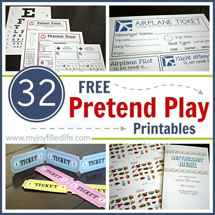 32 Free Pretend Play Printables border. Fun things for kids to use with their imaginations