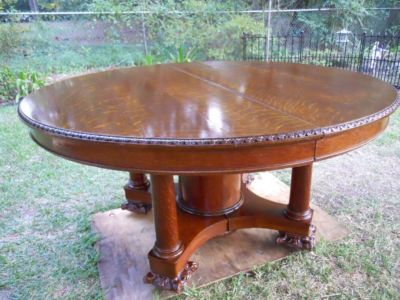 Antique 60 Inch Round Solid Tiger Oak Dining Table Claw