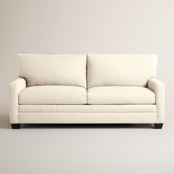 Our soft woven sofa is custom made in the U.S.A. with a contemporary, clean-lined profile. Boasting a casual appeal, this affordable seat features reversible cushions with sinuous, no-sag springs for added comfort.