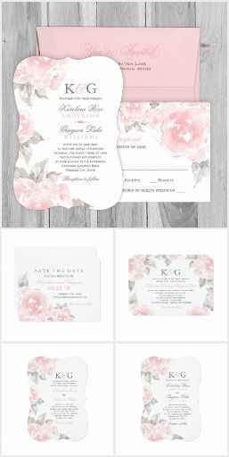 Wedding Collection | Pink Watercolor Roses Elegant and romantic wedding invitation and wedding day stationery collection features a border of soft blush roses with green leaves and stylish text in rose quartz pink and pewter gray colors. Flowers have a beautiful watercolor painted appearance.