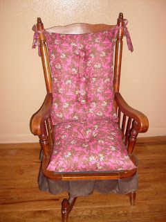 DIY rocking chair cover made out of 2 pillows