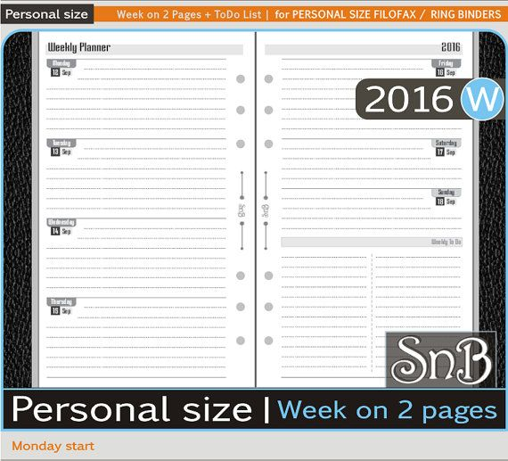 Week on 2 pages + ToDo List inserts for PERSONAL SIZE FILOFAX / BINDER PLANNERS (Starts on Monday) January to December 2016  As soon as you