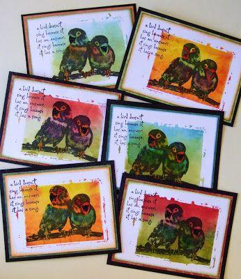 Cards by Yvonne van Hoof using Darkroom Door Love Birds Rubber Stamp Set.