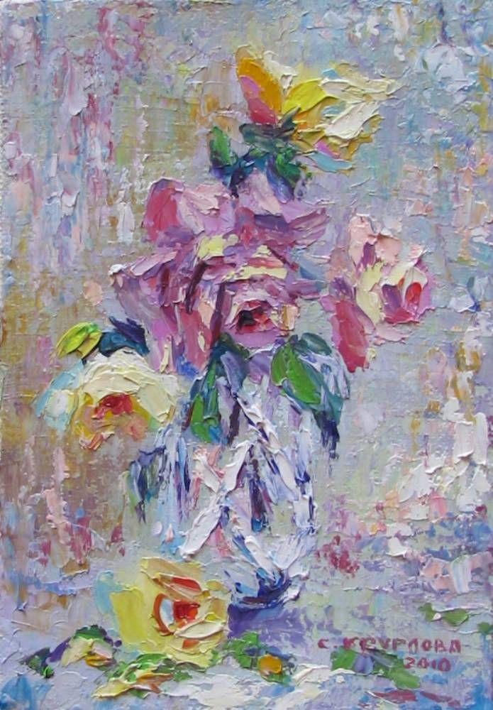 Картины (живопись) : Розы в хрустале. Автор Светлана Николаевна Круглова