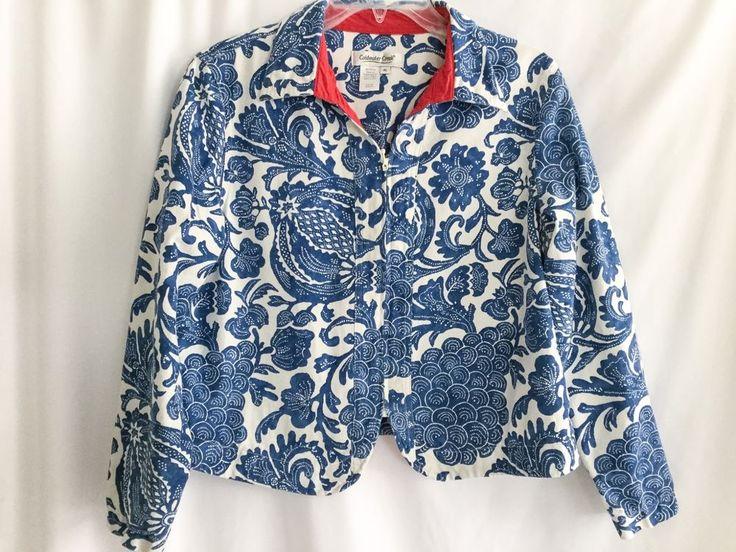 Coldwater Creek PM Red White Blue Denim Zip Up Jacket Stylized Fruit Jacobean #ColdwaterCreek #LightJacket