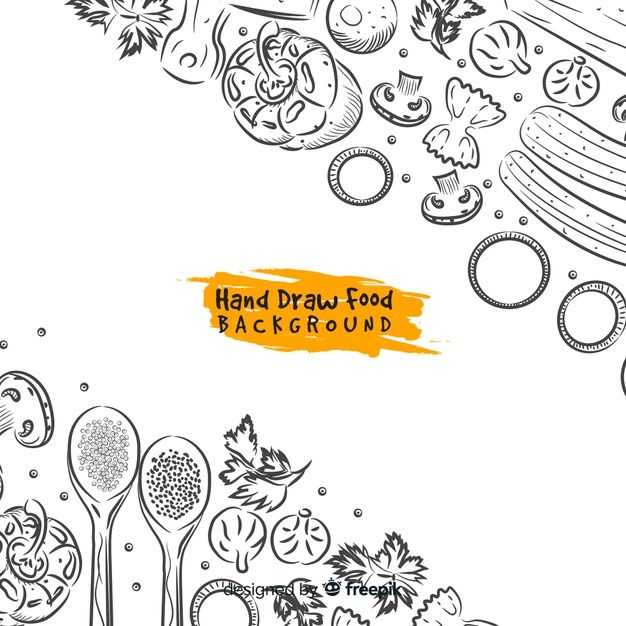 Download Hand Drawn Food Background For Free Di 2020 Desain