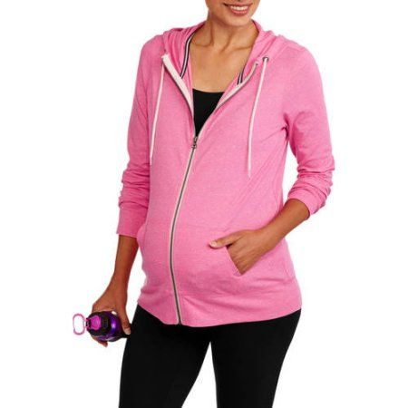 Danskin Now Maternity Zip-Up Hoodie, Size: Large, Pink