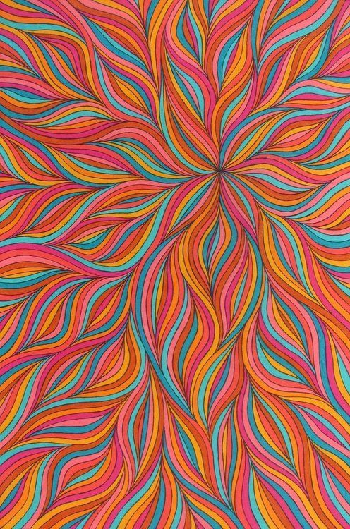 doodle drawing ... looks like a close up of a dahlia ... bright and beautiful in saturate Southwestern colors ... luv it!: