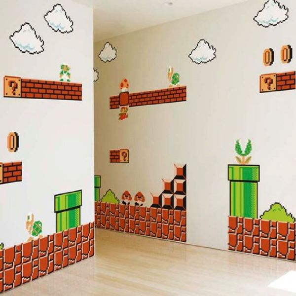 Based on the 8-bit graphics from Super Mario Bros, you can now join Mario and his friends on their quest in any room of the house! Stickers are removable and reusable – and come so life-like, it's like watching the game on pause! #supermario