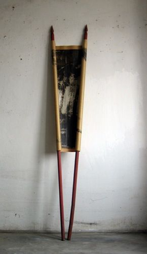 Miklós Onucsán, Object to march with, 1995, layered paper, tar, wooden flag…