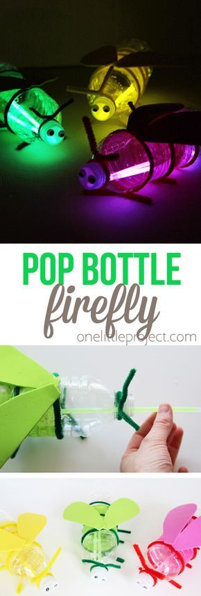 Turn plastic bottles into fireflies with glow sticks! These pop bottle fireflies would be such a fun kids craft for summer break or camping!