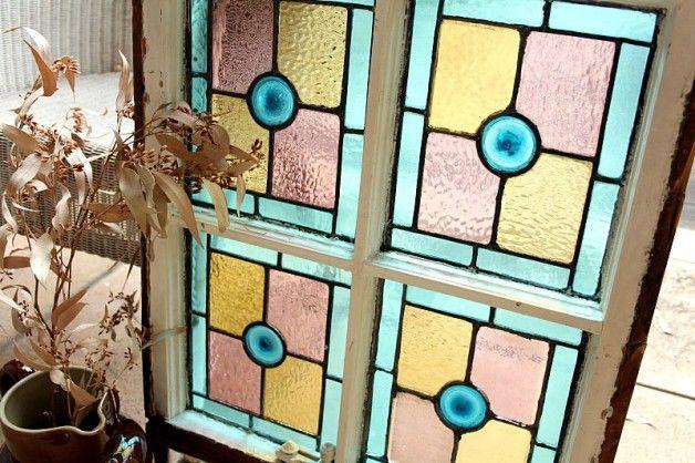 ステンドグラス ヴィクトリアン パステル 吹きガラス 4分割 イギリスアンティーク