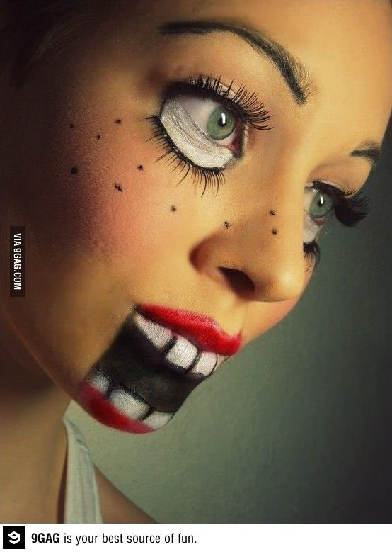 Awesome Doll make-up! I think I will do   something like this for Halloween