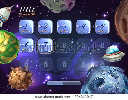 Cartoon space vector background for UI game. Button user app, universe and asteroid, rocketship and explore crater or ufo illustration - stock vector