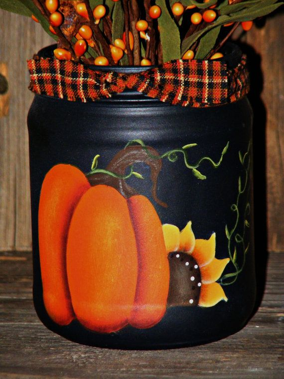 Primitive Fall Decor Handpainted Jar by theprimplace on Etsy