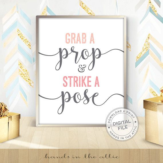 Grab a prop and strike a pose photo booth wedding display ready-to-print sign photo booth props wedding signs DIGITAL download JPG by HandsInTheAttic