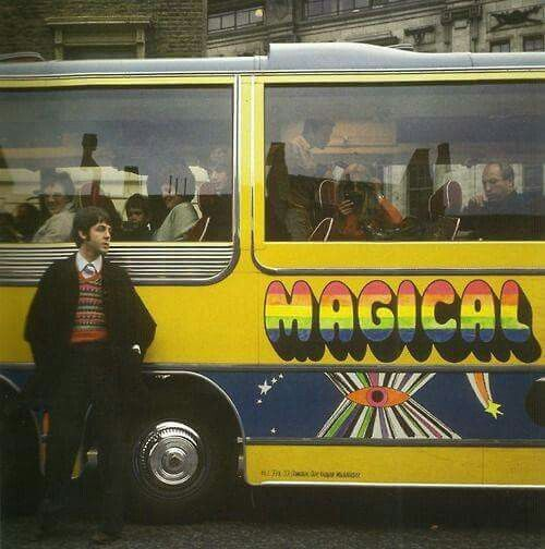♡♥Paul McCartney takes a break from filming outside a very crowded 'Magical Mystery Tour' bus♥♡