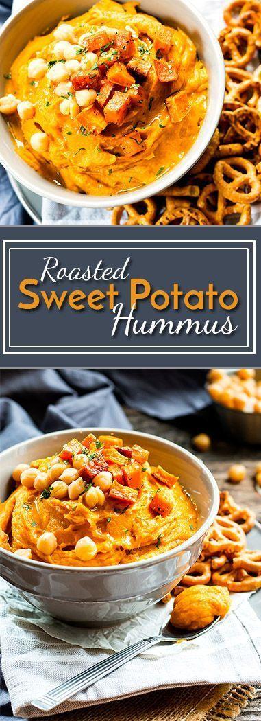 Roasted Sweet Potato Hummus Without Tahini   A hummus recipe without tahini!! It…
