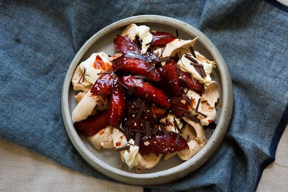 Poached Quince in Verjuice with Brown Sugar Meringues - Maggie Beer