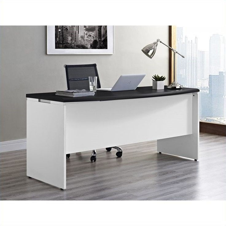 Executive Office Desk In White And Gray