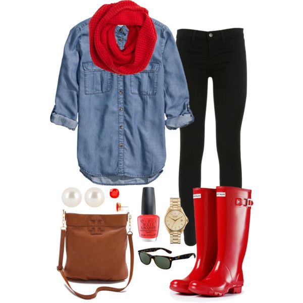 Chambray tip, leggings, red infinity scarf, red hunter boots