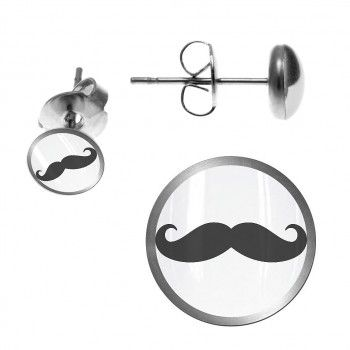Stainless Steel Earring Stud with Mustache Logo: Fashion Earrings, Earrings Studs, Steel Earrings, Earring Studs