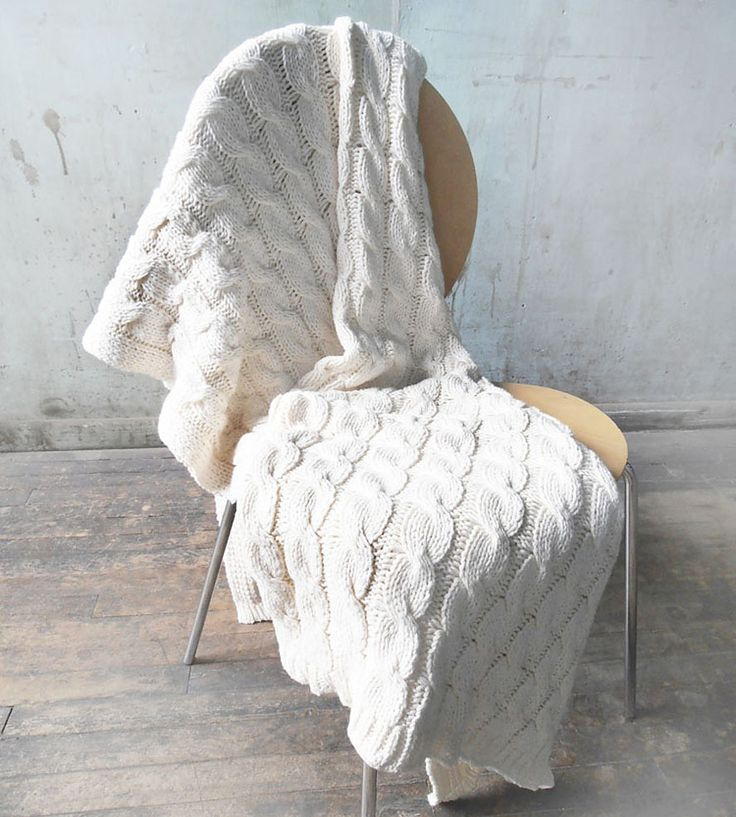 White Cable Knit Throw Blanket by Relais Knitwear on Scoutmob Shoppe