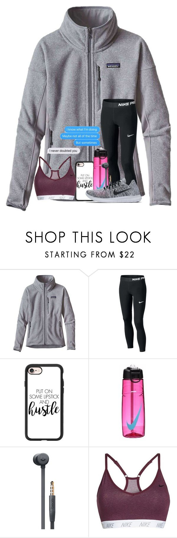 """QOTD"" by cassieq6929 ❤ liked on Polyvore featuring Patagonia, Casetify, NIKE, Beats by Dr. Dre and Bodhi"