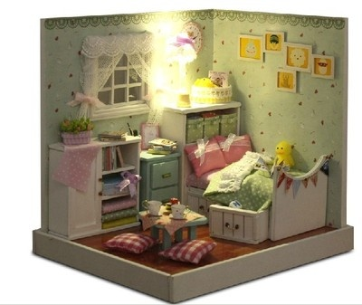 DIY A corner of LED Light dollhouse fresh home miniatures wzard of oz with cover | eBay
