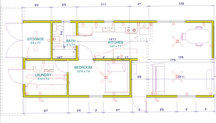 2 Shipping Container house floorplan. http://1stvillager.files.wordpress.com/2011/10/guest-house-plan1.png