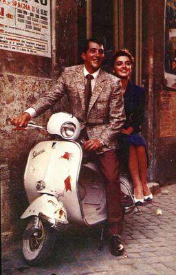 Dean Martin on a Vespa. Nada como los clásicos  !! I've never seen this shot of Dean on a scoot!! !!