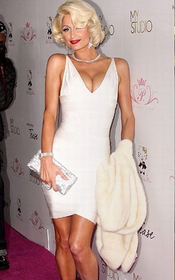 Paris Hilton Herve Leger White V Neck Bandage Dress