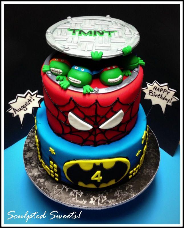 Children's Birthday Cakes - Super Hero's! Teenage Mutant Ninja Turtles, Spiderman and Batman! Gumpaste sewer top, fondant turtles and fondant detailing.