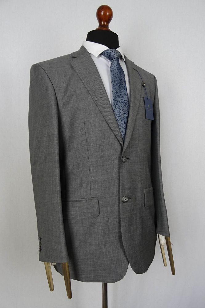 Men/'s Alexandre Savile Row Grey Sharkskin Tailored Fit Suit VB110