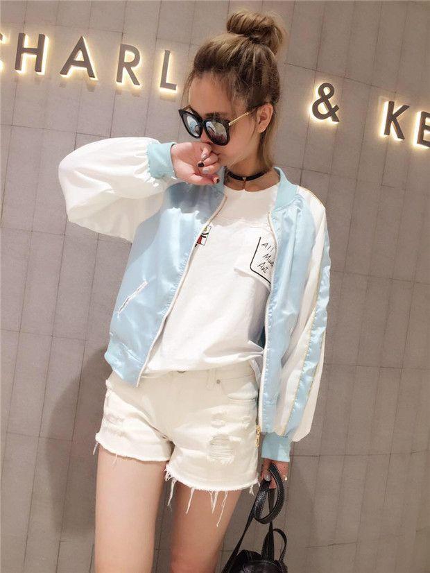 Pink/blue kawaii cat baseball jacket