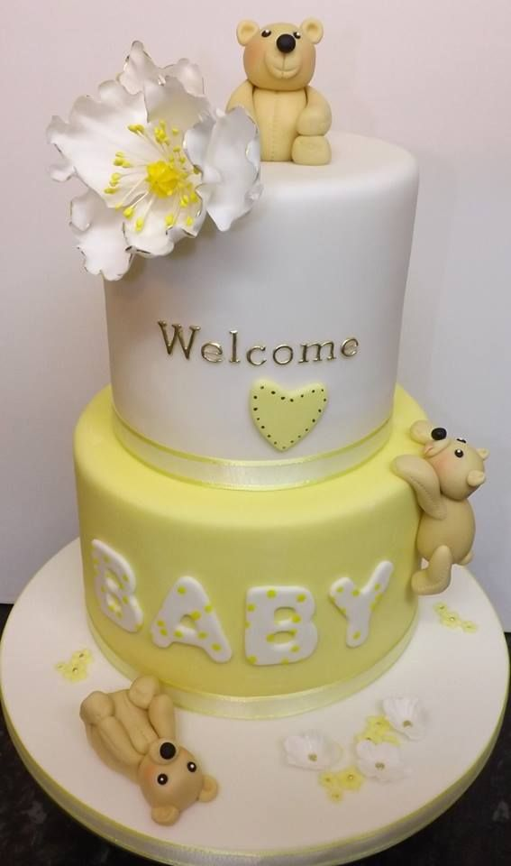 Baby Shower Cake. Yellow And White With Bears.