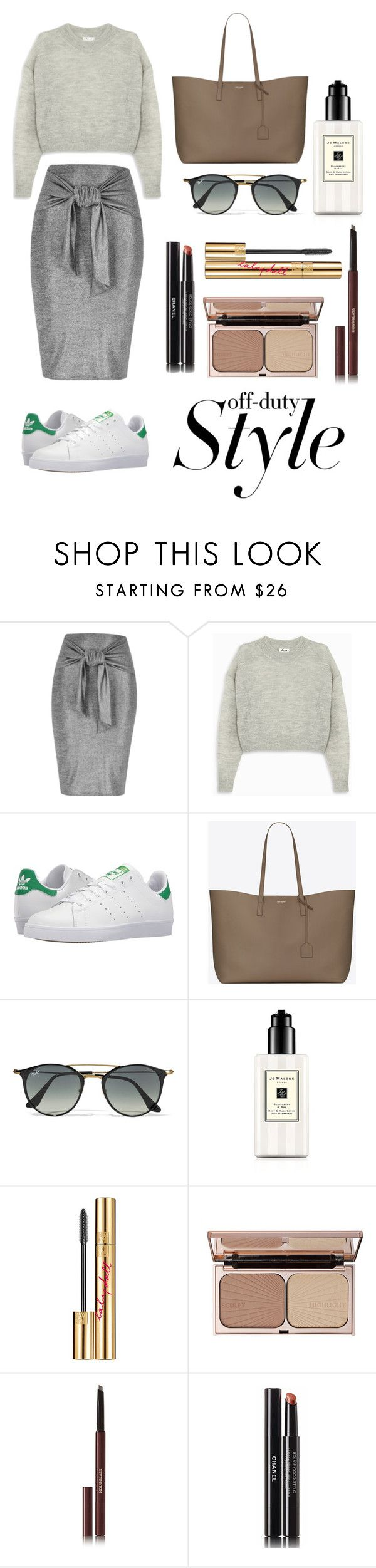 """""""Streetchic"""" by stella-lam ❤ liked on Polyvore featuring River Island, Acne Studios, adidas, Yves Saint Laurent, Ray-Ban, Jo Malone, Charlotte Tilbury and Hourglass Cosmetics"""