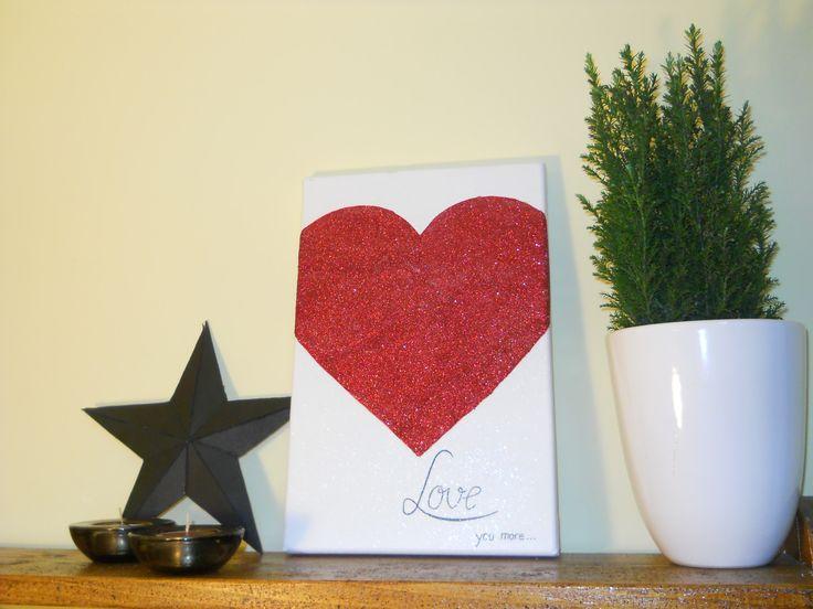 Glittery heart canvas