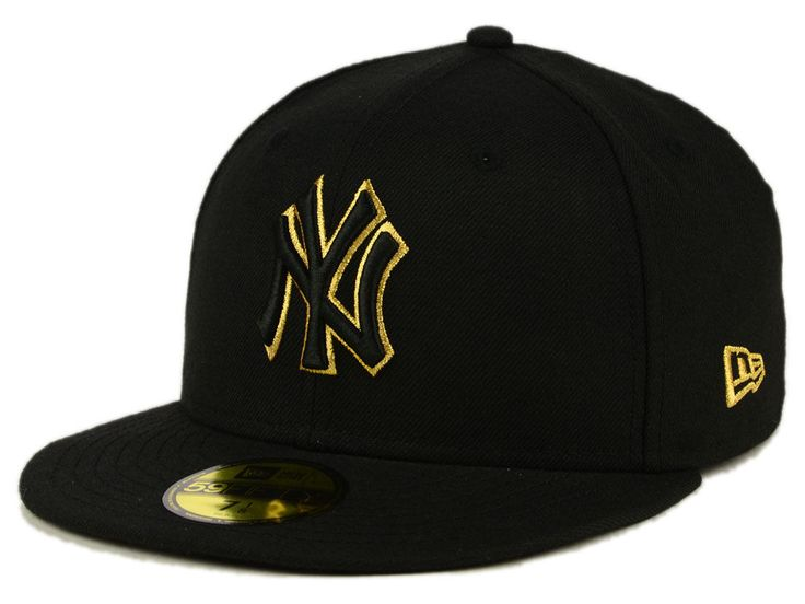 New York Yankees New Era MLB Black On Metallic Gold 59FIFTY Cap