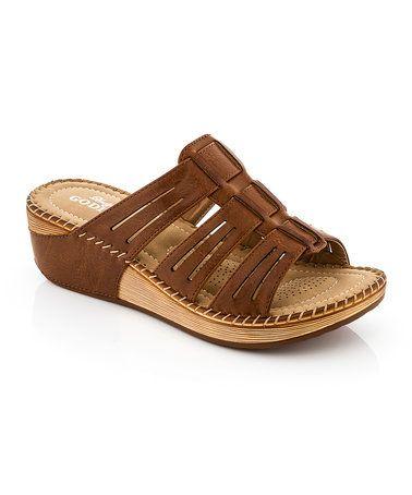 Brown Cutout Strap Sandal