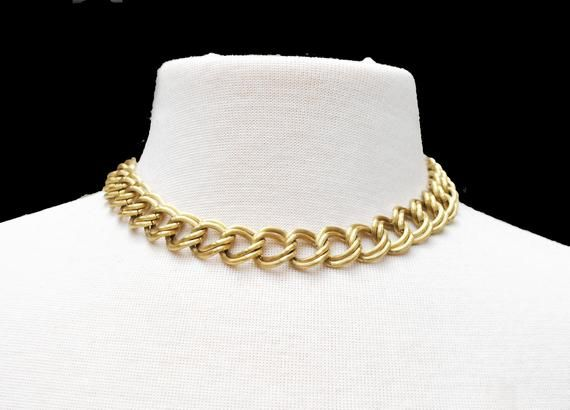 Charming Charms and Chains Gold Toned 1950s Slide Style Necklace Choker Length Excellent