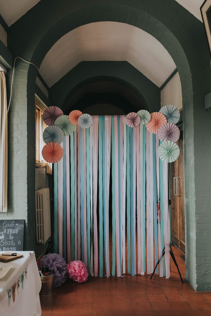 Ribbon Paper Backdrop Pinwheels Streamers DIY Pastel Creative Wedding http://www.baiandelle.com/