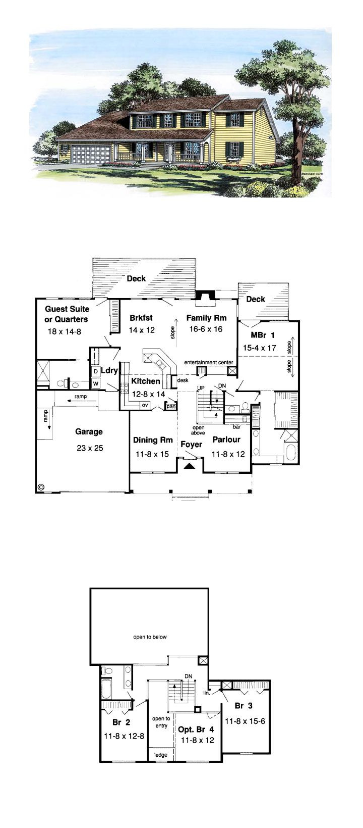 5 bedroom 3 bathroom house plans - Colonial Country Saltbox House Plan 20404
