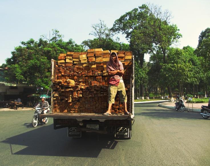 Timber Truck  -   Location: near Wat Phnom park in Phnom Penh, Cambodia. 2013