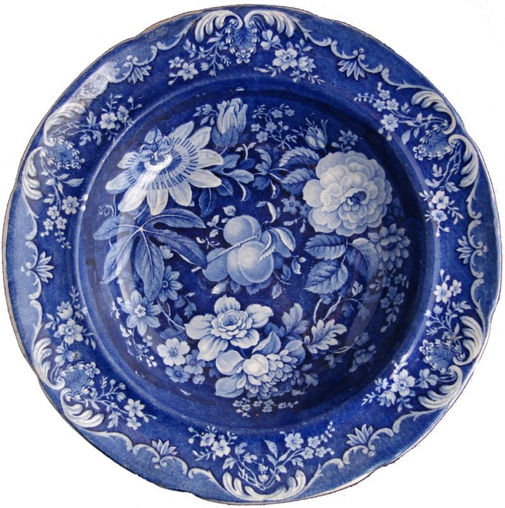 blue & white plate Dishy News - A Transferware Blog: CLEMATIS floral