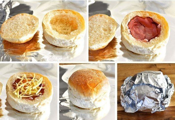 Hot buns with egg, cheese and ham for breakfast.