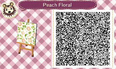 AC QR Code: Peach Floral Pattern